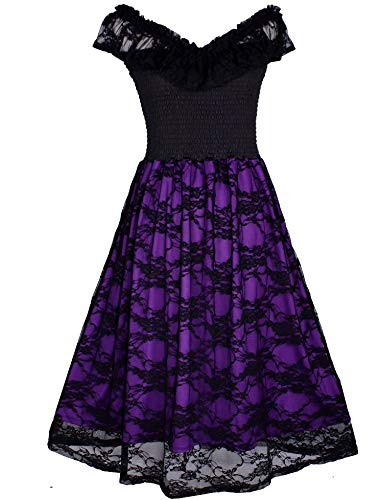 Swing Dress Women Plus Size Bridesmaid Casual Cocktail Lace Party Short Retro (XL(Knee Length), Black/Purple Lace 3)