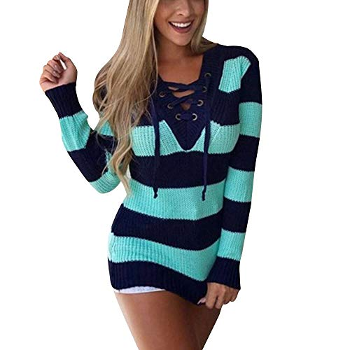- Sunhusing Womens Color Matching Stripe Cross Lace-Up Sweater Shirts Casual Knitted Loose Blouse Pullover