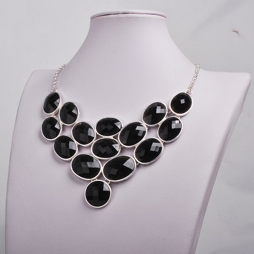 Bubble Necklace, Statement Jewelry, Chunky Necklace, Bib Necklace(Fn0578) (S-Black)