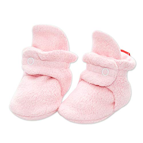 Zutano Cozie Fleece Baby Booties with Cotton Lining, Unisex, for Newborns, Infants, and Toddlers, Baby Pink, 0M-3M