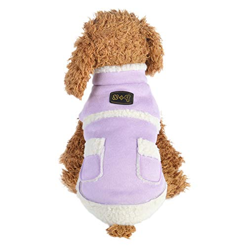 Dog Suede Faux Coat (Tutuba Pet Dog Faux Suede Coat British Style Fleece Lined Cold Weather Jacket Small Medium Dogs)