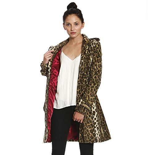 Leopard Trench (Members Only Womens Vegan Faux Fur Leopard Trench Coat Brown Small)