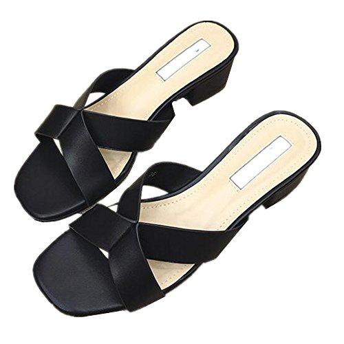 love Femmes Talons Bas à beauty Sandales Size 38 Color Angel Black EU White pour HCqwRdp0x