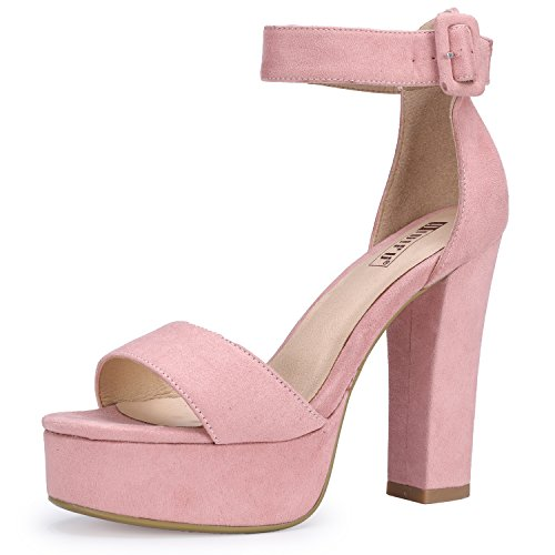 IDIFU Women's IN5 Sabrina Ankle Strap Platform High Chunky Heels Party Sandal (Pink Suede, 5 B(M) ()