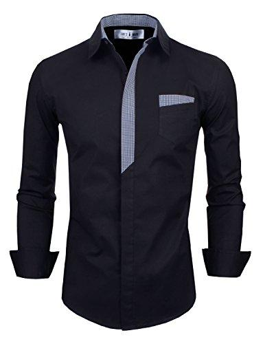 TAM WARE Mens Classic Slim Fit Plaid Inner Contrast Longsleeve Shirt