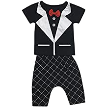 Lisin Newborn Baby Boy Girl Kids Short Sleeve Bowknot Print Tops+Pant Outfits Clothes Set