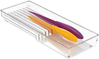InterDesign Linus Organizador de cuchillos para cajón, separador de cajones grande de plástico para 8 cuchillos, transparente