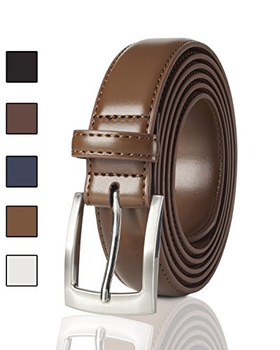 Belts for Men Mens Belt Buckle Genuine Leather Stitched Uniform Dress Belt - Tan (32)