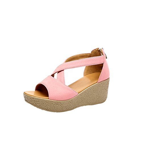fereshte Women's Suede Peep Toe Cross Strap Zip Up Platform Sandals Flatform Shoes Pink ksYjH
