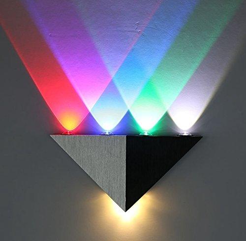 Lightess Led Wall Light Modern Sconce Up Down Spotlight Lighting Triangle Shape Mini Lamp for Theater Movie Room, Multiple Color - Chimney Steel Installing Stainless