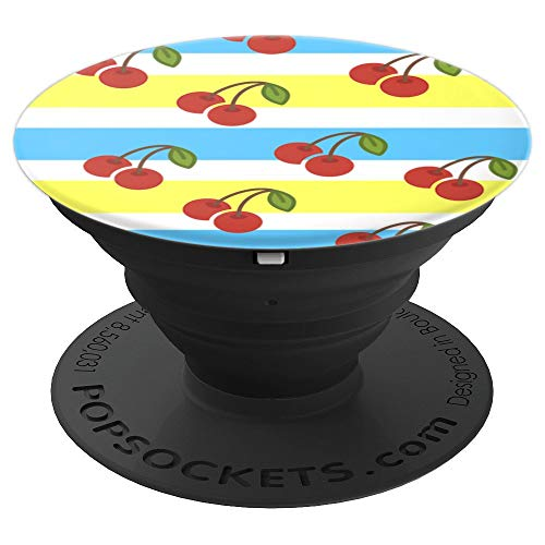 - Retro Cherry Stripe Pop Socket - PopSockets Grip and Stand for Phones and Tablets