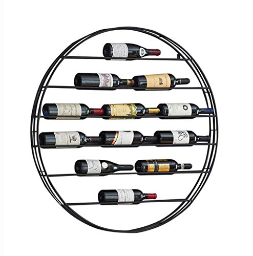 AO Round Wine Rack Wall Hanging Retro Metal Shelf for Wall Mounting Wall Creative Restaurant Wine Display Stand