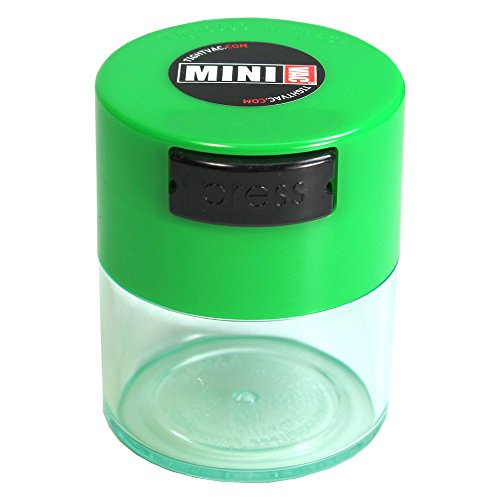 Minivac - 10g to 30 grams Airtight Multi-Use Vacuum Seal Portable Storage Container for Dry Goods, Food, and Herbs - Green Cap & Clear Body