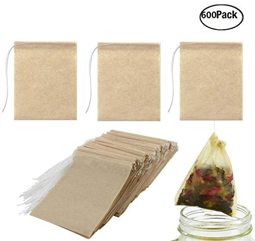 JM-capricorns 600 Pack Tea Filter Bags, Disposable Paper Tea Bag with Drawstring Safe Strong Penetration Unbleached Paper for Loose Leaf Tea,Coffeeand Herb(Natural Color, 2.75 x 1.97 Inches) ()