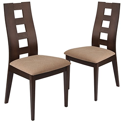 Flash Furniture 2 Pk. Preston Walnut Wood Dining Chair with Window Pane Back and Brown Fabric Seat