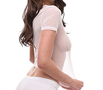 Jnzebly Womens Sheer See-through Gauze Crop Tops White Xl 3