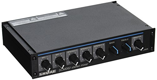 Shure SCM262 Stereo Mixer for use with 2 Microphones and 3 Stereo Sources, with Ducking and Phantom Power by Shure