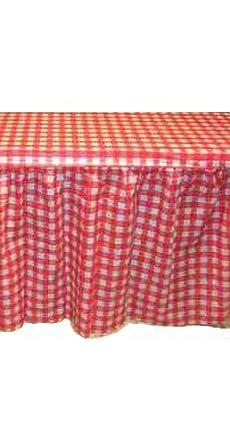 """Kwik-Cover KS3072PK-RW PKG. Red Gingham Kwik-Skirt With 30"""" X 72"""" Kwik-Cover Fitted Table Cover With Skirt, (1 full case of 10)"""
