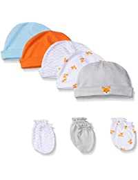 Luvable Friends 5-Pack Cap and 3-Pack Scratch Mitten Set