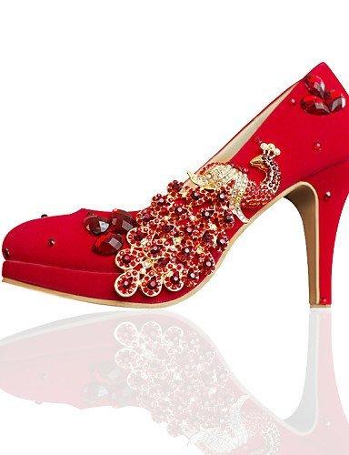 3in Chaussures Talon Talons À Rond Bout Pompes Femmes Mariage Shangyi Rouge Cônes 0xfFw1rv0q