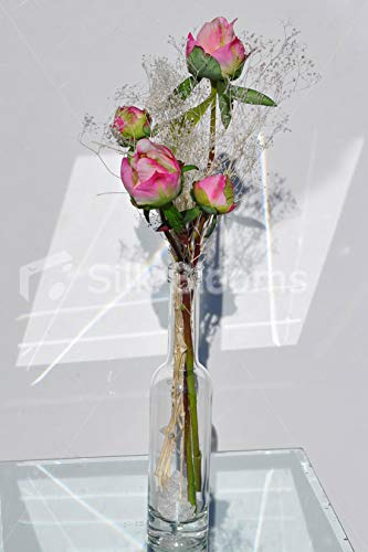 Silk Blooms Ltd Artificial Fresh Touch Magenta Pink Peony Bud Floral Arrangement w/Real Preserved Gypsophila