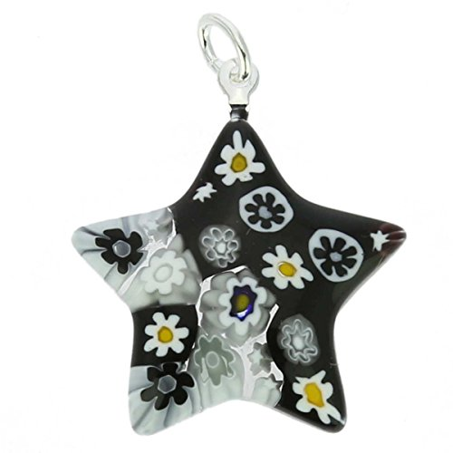 GlassOfVenice Murano Glass Millefiori Star Pendant - Black and White