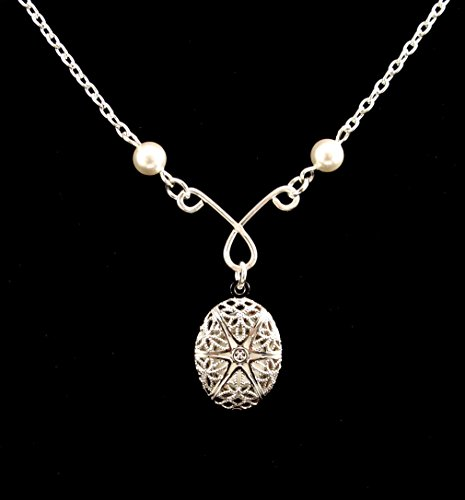 Aromatherapy Essential Oil Diffuser Necklace Locket Pendant, Silver Filigree Locket, 18 Inch Silver Chain with White Swarovski Pearls, 4 Replacement Pads Included, Picture Locket Fashion Necklace