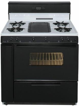 Premier SLK849WP Gas Range with 10 Inch Tempered Glass Backguard with Electronic Clock/Timer Electronic Ignition and Tempered Black Glass Windowed Oven Door with Interior Oven Light in