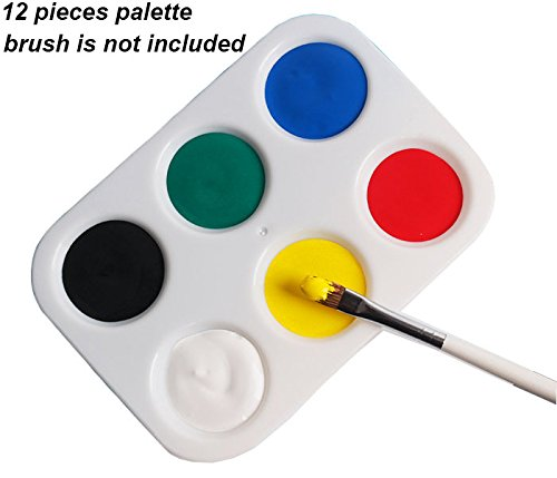 (12 Pieces Paint Tray Palette,6 Wells,4.92 by 3.38 inch)