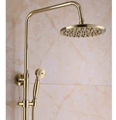 Gowe Gold Finish Bath 8-inch Rain Shower Set Faucet Tub Mixer Tap with Hand Sprayer 1