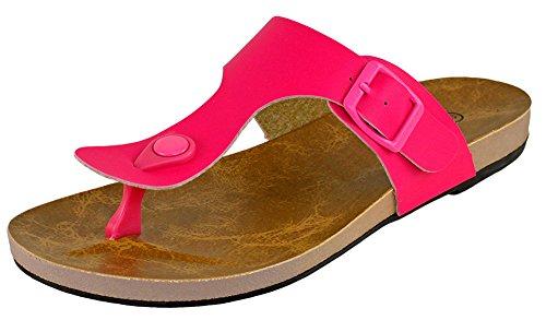 Cambridge Select Women Thong Gesp Flat Slide Sandaal Fuchsia