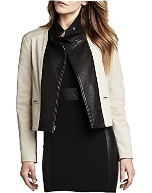 Theory Velea Leather Panel Jacket in Oak/Black - Size Medium
