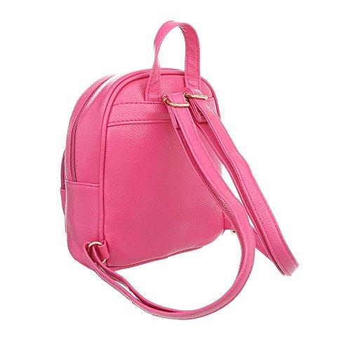 iTal-dEsiGn Damentasche Sehr Kleine Rucksack Freizeittasche Kunstleder TA-M1139 Pink