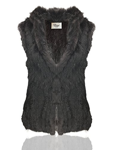 Uilor? Fourrure de lapin naturel de fminin tricot gilet pais chaud Dark Brown