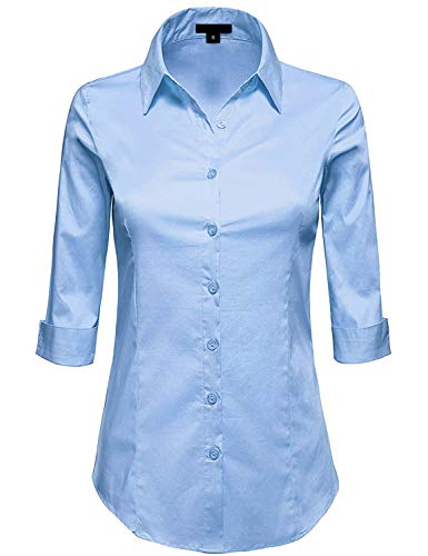 MAYSIX APPAREL Plus Size 3/4 Sleeve Stretchy Button Down Collar Office Formal Shirt Blouse for Women LIGHTBLUE 1XL