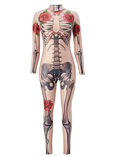 Uideazone Nude Human Halloween Costume Full Sleeve Skeleton