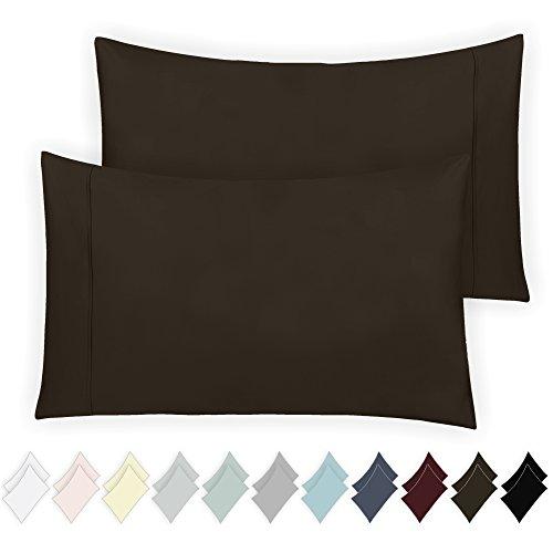 California Design Den 400 Thread Count 100% Cotton Pillowcase Set of 2, Long - Staple Combed Pure Natural Cotton Pillowcase, Soft & Silky Sateen Weave (Standard, Chocolate Brown) ()