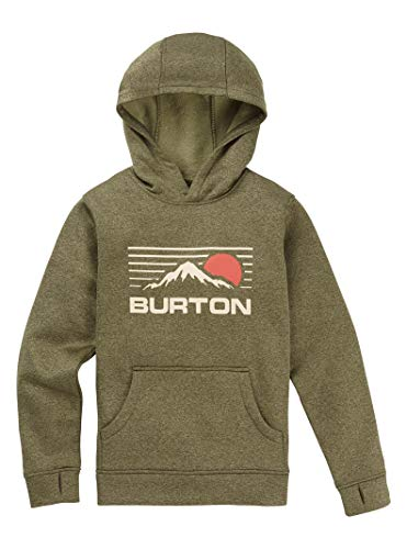 - Burton Boys' Oak Pullover Hoodie, Olive Night Heather, Large