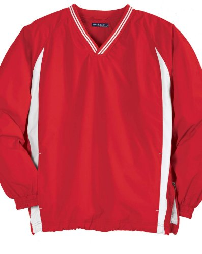 Sport-Tek JST62 Tipped V-Neck Raglan Wind Shirt - True Red/White - 4XL