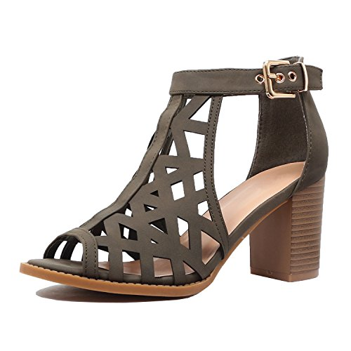 Guilty Heart | Womens Strappy Cut Out Perforated Open Toe Shoe | Block Chunky Mid Heel Comfortable Walking Sandals (10 B(M) US, Olivev9 (Pu Womens Fashion Sandals)