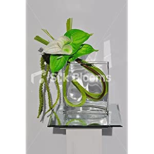Modern Heart Shaped Green Anthurium Floral Vase Display with Cascading Greenery 45