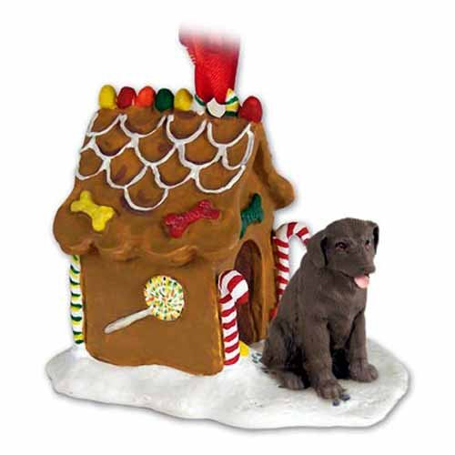 White Gingerbread Dog House Ornament - Chocolate Lab Retriever Gingerbread House Christmas Ornament by Conversation Concepts