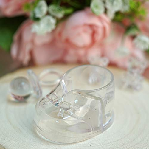 BalsaCircle 36 pcs Clear Plastic Booties Baby Shower Favor Holders - Wedding Party Accessories Decorations Candy Supplies Gift]()
