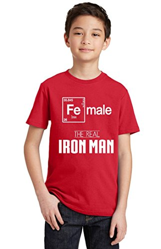 Female Real Iron Man Funny Elements Youth T-Shirt, Youth L, - Wtc Ironman