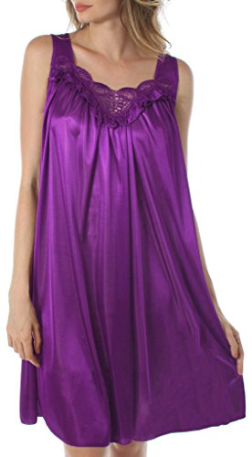 Polyester Nightgown (Venice Women's Silky Looking Embroidered Nightgown 06N XX-Large Purple)