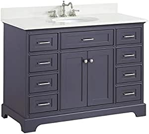 Amazon Com Aria 48 Inch Bathroom Vanity Quartz Charcoal Gray Includes Charcoal Gray Cabinet With Stunning Quartz Countertop And White Ceramic Sink Home Improvement