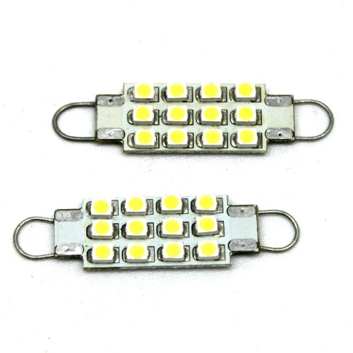 JLC - 2 Pieces DE4410 211-2 212-2 214-2 12-SMD LED Chip Festoon 42mm to 44mm Rigid Loop Light Bulbs D42-D44 - XENON WHITE