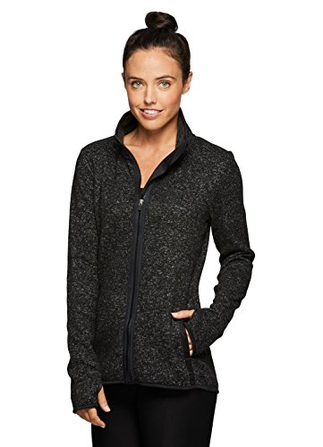 RBX Active Women's Fleece Lined Work-Out Running Sweater Jacket Black XL (Running Jackets Women)