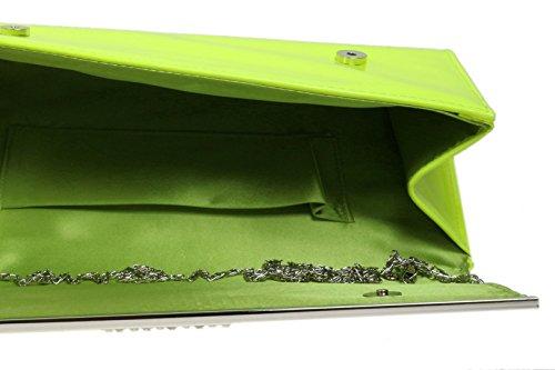 Marco Diamante Fiesta Girly Patente De Noche Amarillo Bolsa Embrague Brillo Piel Nueva Handbags Sintética 7Rwfqvz