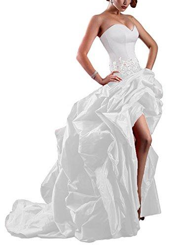 Sweet Bridal Women's Strapless High Low Taffeta Evening Dress Ball Gown White US12